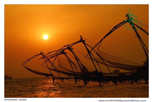 chinese fishing nets  fortcochin kochi car and driver